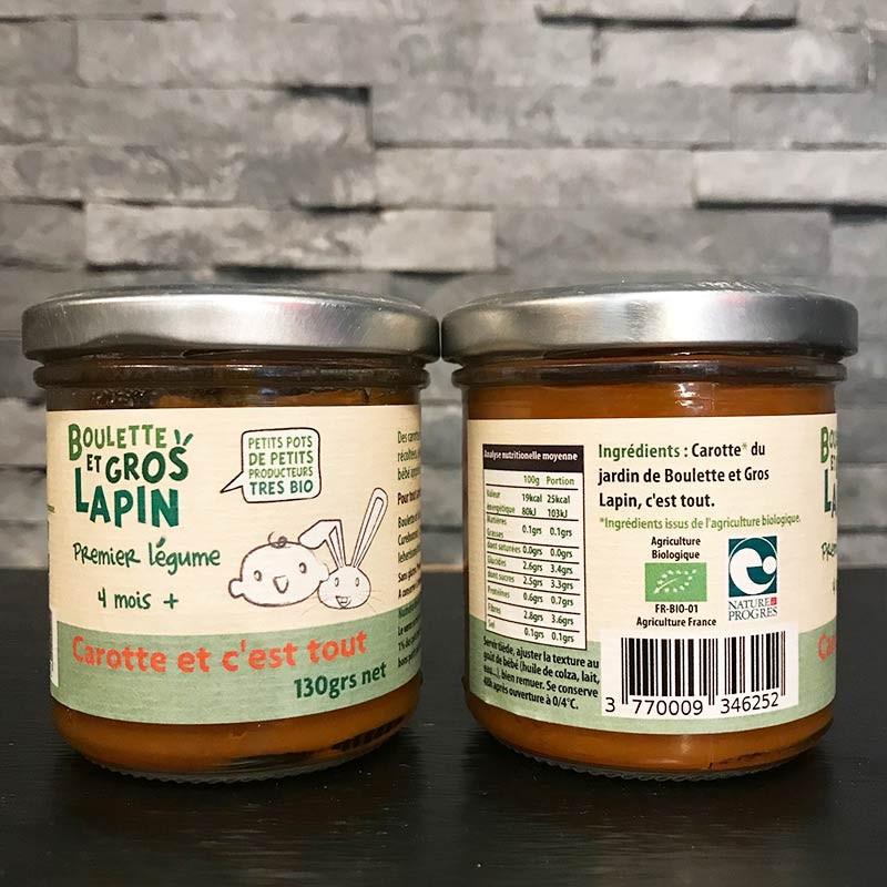 Petit pot bébé bio Purée de carotte 4 mois