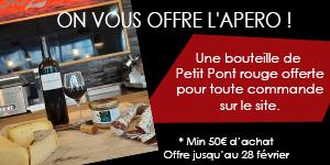 Une bouteille de Petit Pont rouge offert pour toute commande sur le site (Min 50€ d'achat)